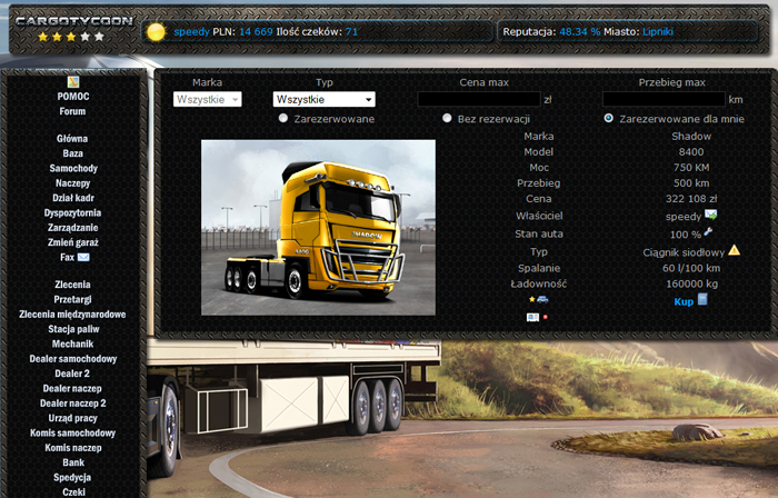 Used truck garage. Players can sell vehicles between themselves.