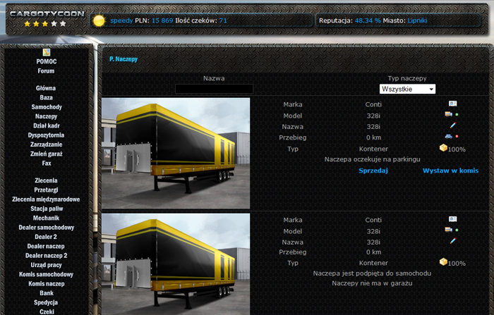 Tab showing trailers in the garage and information about them.